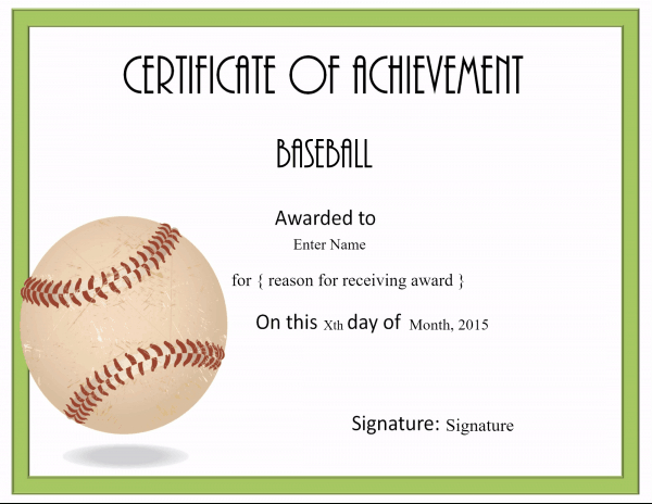 Free Editable Baseball Certificates - Customize Online With Editable Baseball Award Certificates