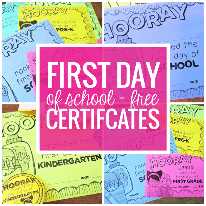 Free Editable First Day Of School Certificates - Teach Junkie With Unique First Day Of School Certificate Templates Free