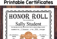 Free Editable Honor Roll Certificates in Editable Honor Roll Certificate Templates