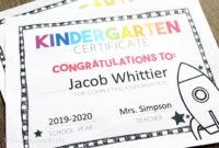 Free, Editable Kindergarten Certificates And Graduation pertaining to Fresh Kindergarten Graduation Certificates To Print Free