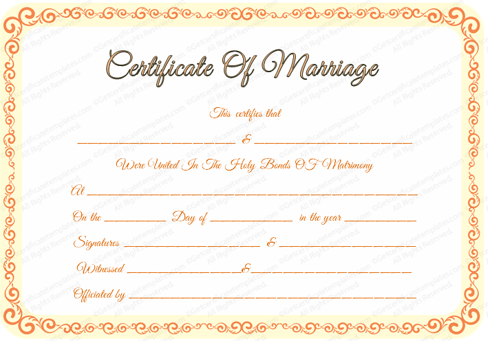 Free Editable Marriage Certificate Template With Marriage Certificate Editable Template