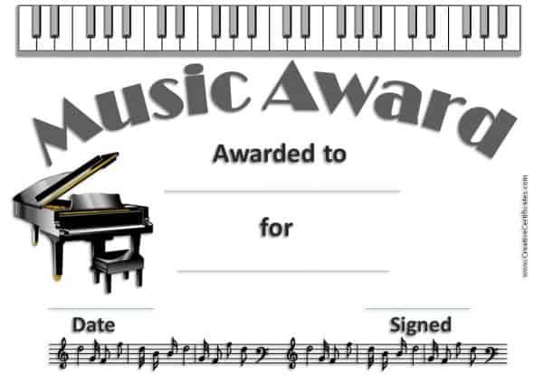 Free Editable Music Certificate Template - Free And Customizable For Best Piano Certificate Template Free Printable
