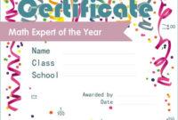 Free Graduation Certificate Templates for Fresh Math Achievement Certificate Templates