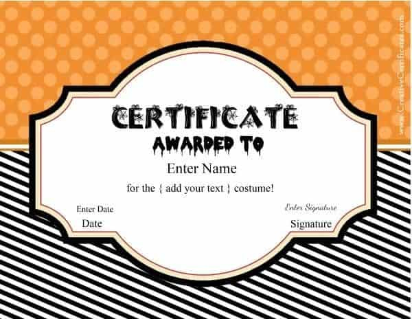 Free Halloween Costume Awards | Customize Online | Instant with Best Best Costume Certificate Printable Free 9 Awards