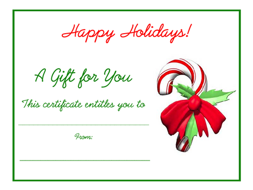 Free Holiday Gift Certificates Templates To Print with Holiday Gift Certificate Template Free 10 Designs