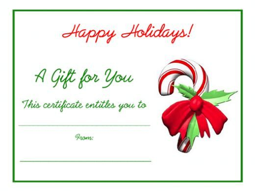 Free Holiday Gift Certificates Templates To Print With Regard To Christmas Gift Templates Free Typable