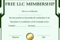 Free Llc Membership Certificate Template | Certificate for Donation Certificate Template Free 14 Awards
