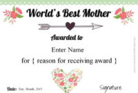 Free Mother'S Day Certificate | Customize Online Then Print with Best 9 Worlds Best Mom Certificate Templates Free
