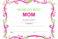 Free Mothers Day Printable Certificate | Gift Certificate intended for Mothers Day Gift Certificate Templates