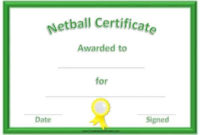Free Netball Certificates in Netball Achievement Certificate Editable Templates