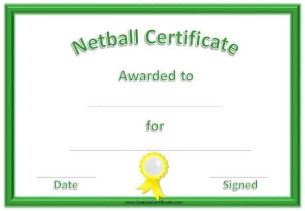Free Netball Certificates Throughout Best Netball Achievement Certificate Template