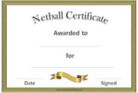 Free Netball Certificates with regard to Netball Participation Certificate Editable Templates