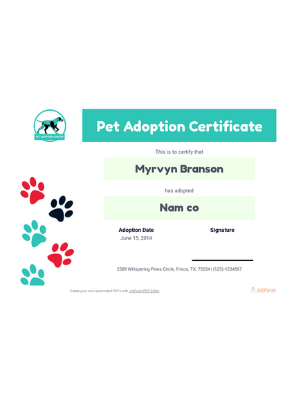 Free Pet Adoption Certificate Template - Pdf Templates | Jotform Intended For Fresh Pet Adoption Certificate Template Free 23 Designs