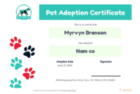 Free Pet Adoption Certificate Template – Pdf Templates | Jotform with Fresh Pet Adoption Certificate Template
