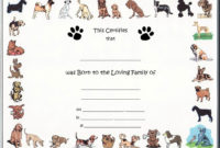 Free Pet Birth Certificate Template Puppy Birth Certificates inside Dog Birth Certificate Template Editable