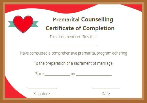 Free Premarital Counseling Certificate Of Completion In Marriage Counseling Certificate Template