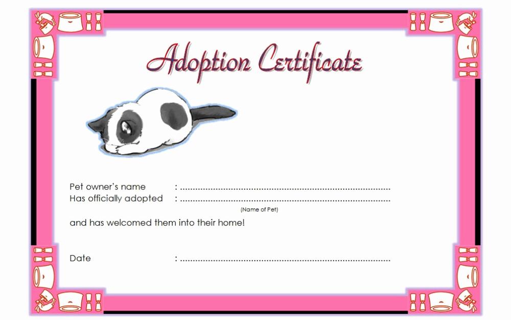 Free Printable Adoption Certificate Beautiful Pet Adoption Inside Cat Adoption Certificate Template