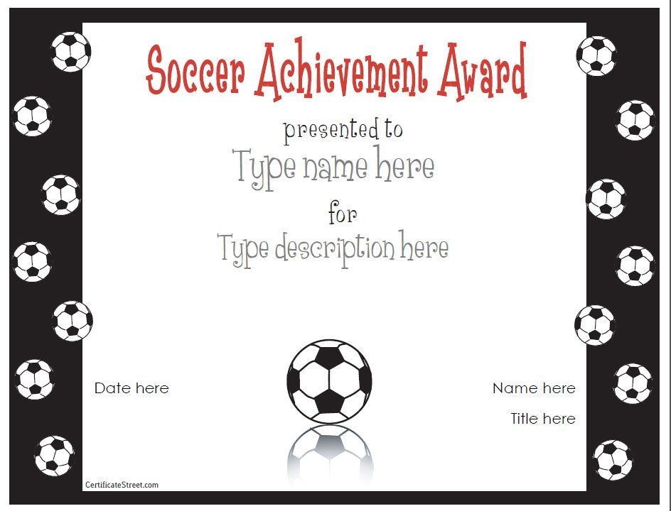 Free Printable Award Certificate Template | Award For Unique Soccer Achievement Certificate Template