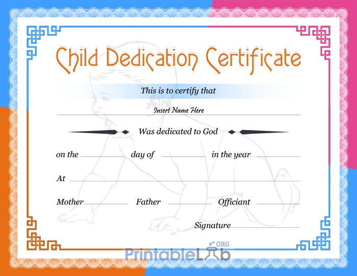 Free Printable Baby Dedication Certificate Format In Dodger With Regard To Best Baby Dedication Certificate Templates