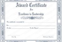 Free Printable Best Leader Award Certificate Template inside Unique Leadership Award Certificate Templates
