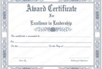 Free Printable Best Leader Award Certificate Template with regard to Leadership Award Certificate Template