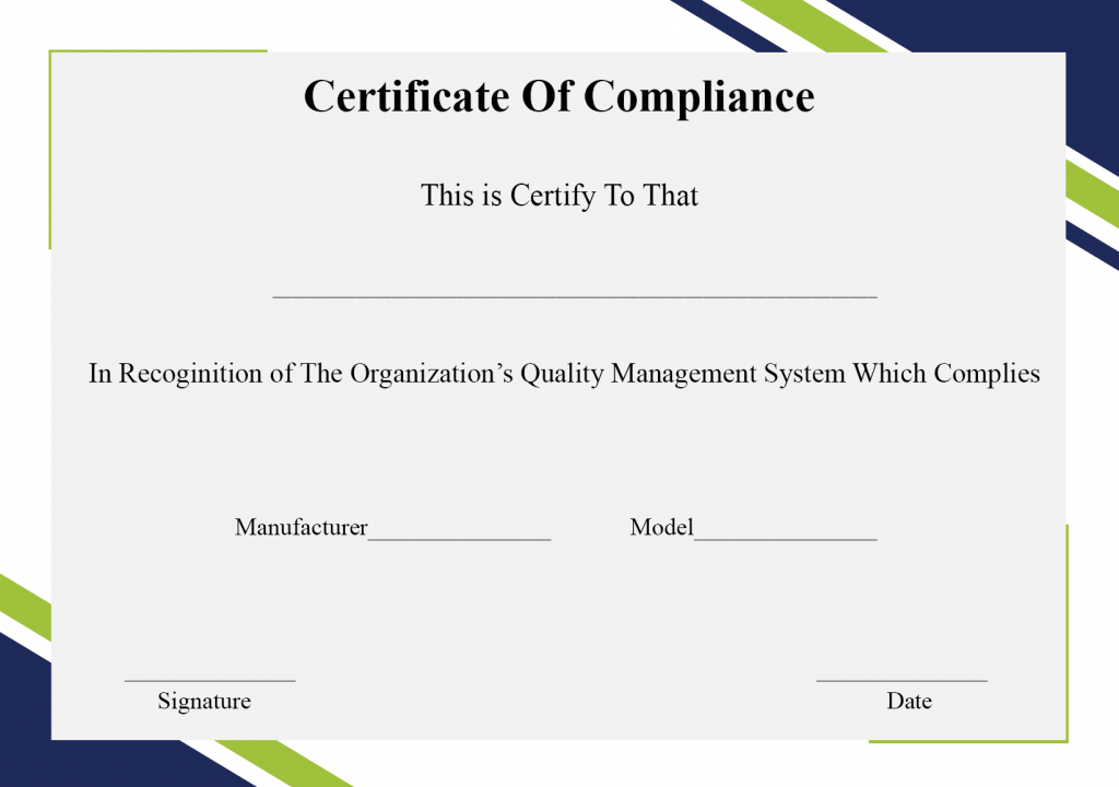 Free Printable Certificate Of Compliance Template For Unique Certificate Of Compliance Template