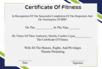 Free Printable Certificate Of Fitness Template | Certificate for Unique Physical Fitness Certificate Templates