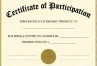 Free Printable Certificate Of Participation | Certificate Of inside Unique Participation Certificate Templates Free Printable