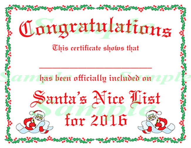 Free Printable Certificates From Santa | Christmas Lettering In Santas Nice List Certificate Template Free