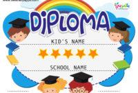 Free Printable Colorful Kids Diploma Certificate Template for Best Pre K Diploma Certificate Editable Templates