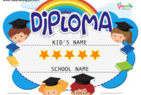 Free Printable Colorful Kids Diploma Certificate Template in 10 Kindergarten Graduation Certificates To Print Free
