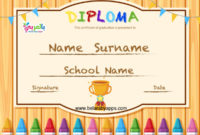 Free Printable Colorful Kids Diploma Certificate Template regarding Unique 10 Kindergarten Graduation Certificates To Print Free