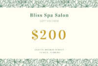 Free, Printable, Customizable Spa Gift Certificate Templates with regard to Fresh Spa Gift Certificate