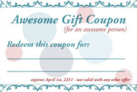 Free Printable Gift Coupon Template | Coupon Template, Gift pertaining to 7 Babysitting Gift Certificate Template Ideas
