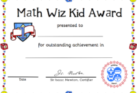 Free Printable Math Certificate Of Achievement | Certificate in Math Award Certificate Templates