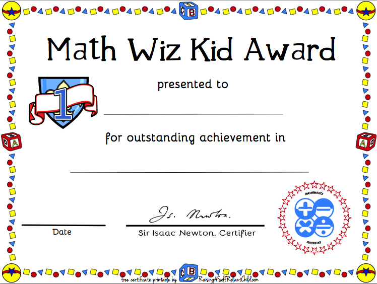 Free Printable Math Certificate Of Achievement | Certificate within Math Achievement Certificate Templates