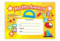 Free Printable Math Certificates Inspirational Maths Award intended for Math Award Certificate Template