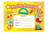 Free Printable Math Certificates Inspirational Maths Award throughout Best Math Achievement Certificate Printable