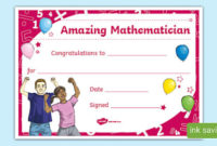 Free! – Printable Maths Certificate (Teacher Made) intended for Fresh Math Certificate Template 7 Excellence Award
