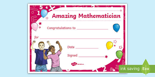 Free! - Printable Maths Certificate (Teacher Made) Intended For Fresh Math Certificate Template 7 Excellence Award
