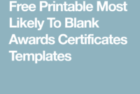 Free Printable Most Likely To Blank Awards Certificates inside Best Most Likely To Certificate Template Free
