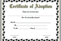 Free Printable Sample Certificate Of Adoption Template Inside Unique Pet Adoption Certificate Editable Templates