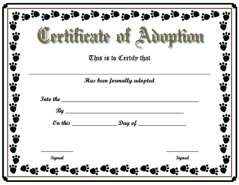 Free Printable Sample Certificate Of Adoption Template Inside Unique Pet Adoption Certificate Editable Templates