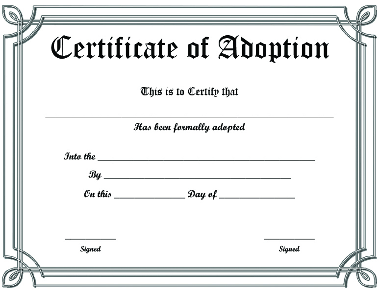 Free Printable Sample Certificate Of Adoption Template Pertaining To Unique Pet Adoption Certificate Editable Templates