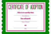 Free Printable Stuffed Animal Adoption Certificate for Stuffed Animal Adoption Certificate Template Free