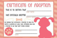 Free Printable Stuffed Animal Adoption Certificate Free pertaining to Stuffed Animal Adoption Certificate Editable Templates
