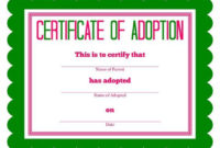 Free Printable Stuffed Animal Adoption Certificate regarding Unique Stuffed Animal Adoption Certificate Editable Templates