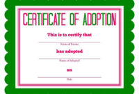 Free Printable Stuffed Animal Adoption Certificate throughout Pet Adoption Certificate Template