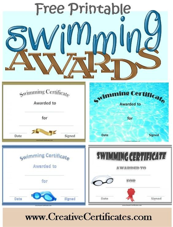 Free Printable Swimming Certificates And Awards | Swimming For Swimming Certificate Template