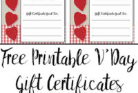 Free Printable Valentine'S Day Gift Certificates: 5 Designs regarding Best Free Printable Best Husband Certificate 7 Designs